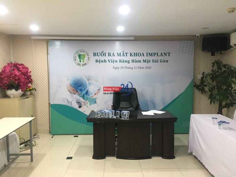 In ấn, làm khung sắt backdrop ra mắt sản phẩm mới BV Răng Hàm Mặt Sài Gòn